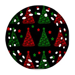 Decorative Christmas trees pattern Round Filigree Ornament (2Side)
