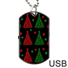 Decorative Christmas trees pattern Dog Tag USB Flash (One Side)