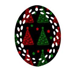 Decorative Christmas trees pattern Oval Filigree Ornament (2-Side)