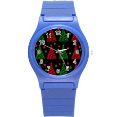 Decorative Christmas trees pattern Round Plastic Sport Watch (S)