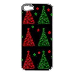 Decorative Christmas trees pattern Apple iPhone 5 Case (Silver)