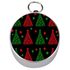Decorative Christmas trees pattern Silver Compasses