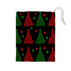 Decorative Christmas trees pattern Drawstring Pouches (Large)