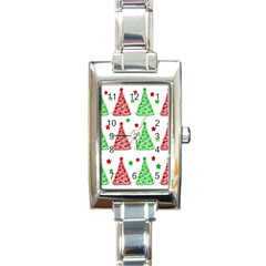 Decorative Christmas trees pattern - White Rectangle Italian Charm Watch