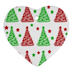 Decorative Christmas trees pattern - White Ornament (Heart)