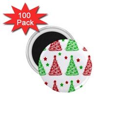 Decorative Christmas trees pattern - White 1.75  Magnets (100 pack)