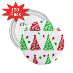 Decorative Christmas trees pattern - White 2.25  Buttons (100 pack)