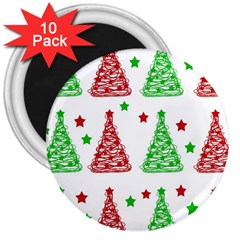 Decorative Christmas trees pattern - White 3  Magnets (10 pack)