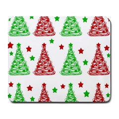 Decorative Christmas trees pattern - White Large Mousepads