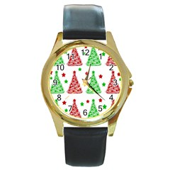 Decorative Christmas trees pattern - White Round Gold Metal Watch