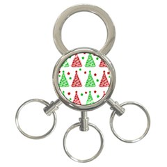 Decorative Christmas trees pattern - White 3-Ring Key Chains
