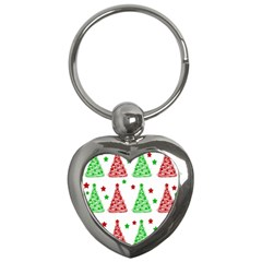 Decorative Christmas trees pattern - White Key Chains (Heart)