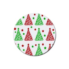 Decorative Christmas trees pattern - White Rubber Coaster (Round)