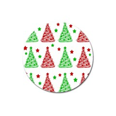 Decorative Christmas Trees Pattern   White Magnet 3  (round)