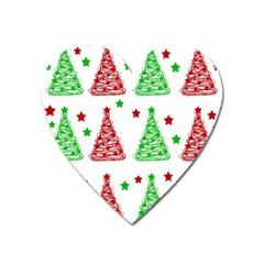 Decorative Christmas trees pattern - White Heart Magnet