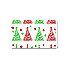 Decorative Christmas Trees Pattern   White Magnet (name Card)