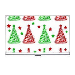 Decorative Christmas trees pattern - White Business Card Holders