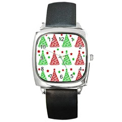 Decorative Christmas trees pattern - White Square Metal Watch
