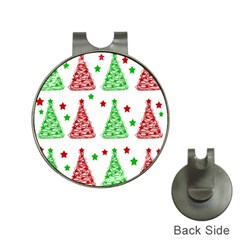 Decorative Christmas trees pattern - White Hat Clips with Golf Markers