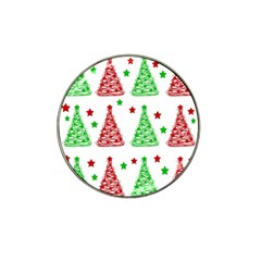 Decorative Christmas trees pattern - White Hat Clip Ball Marker (10 pack)