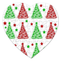Decorative Christmas trees pattern - White Jigsaw Puzzle (Heart)