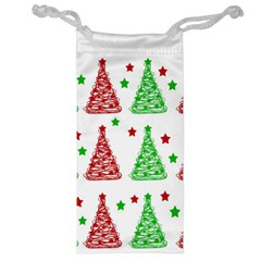 Decorative Christmas trees pattern - White Jewelry Bags