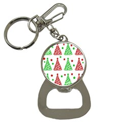 Decorative Christmas trees pattern - White Bottle Opener Key Chains