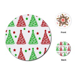 Decorative Christmas trees pattern - White Playing Cards (Round)