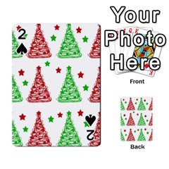 Decorative Christmas trees pattern - White Playing Cards 54 Designs
