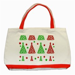 Decorative Christmas trees pattern - White Classic Tote Bag (Red)
