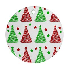 Decorative Christmas trees pattern - White Round Ornament (Two Sides)