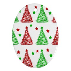 Decorative Christmas trees pattern - White Oval Ornament (Two Sides)