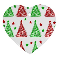 Decorative Christmas trees pattern - White Heart Ornament (2 Sides)