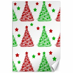 Decorative Christmas trees pattern - White Canvas 20  x 30