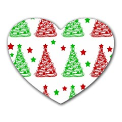 Decorative Christmas trees pattern - White Heart Mousepads