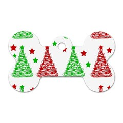 Decorative Christmas trees pattern - White Dog Tag Bone (One Side)