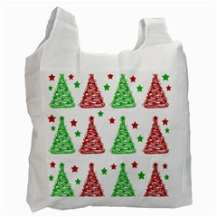 Decorative Christmas trees pattern - White Recycle Bag (One Side)