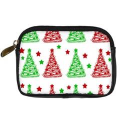 Decorative Christmas trees pattern - White Digital Camera Cases