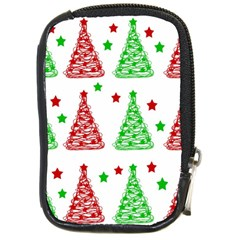 Decorative Christmas trees pattern - White Compact Camera Cases