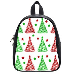 Decorative Christmas trees pattern - White School Bags (Small)