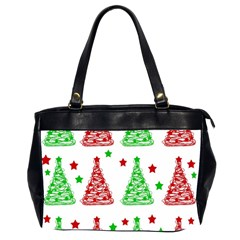 Decorative Christmas trees pattern - White Office Handbags (2 Sides)