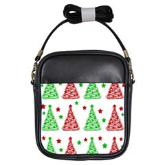 Decorative Christmas trees pattern - White Girls Sling Bags