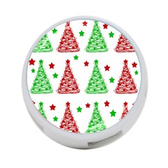 Decorative Christmas trees pattern - White 4-Port USB Hub (One Side)