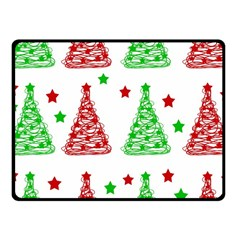 Decorative Christmas trees pattern - White Fleece Blanket (Small)