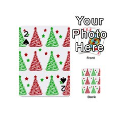 Decorative Christmas trees pattern - White Playing Cards 54 (Mini)