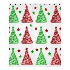 Decorative Christmas trees pattern - White Shower Curtain 60  x 72  (Medium)