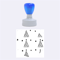 Decorative Christmas trees pattern - White Rubber Round Stamps (Medium)