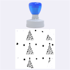 Decorative Christmas trees pattern - White Rubber Round Stamps (Large)