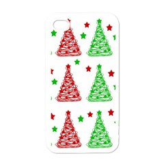 Decorative Christmas trees pattern - White Apple iPhone 4 Case (White)