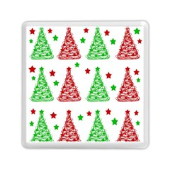 Decorative Christmas trees pattern - White Memory Card Reader (Square)
